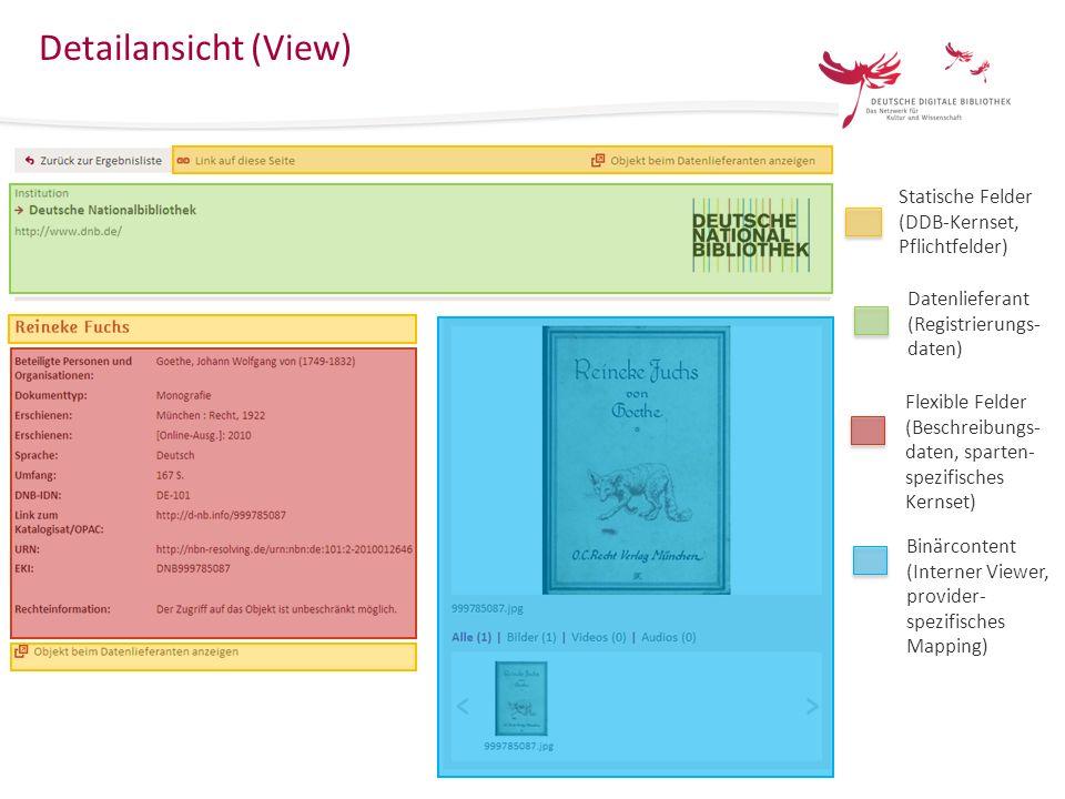 15 Das Europeana Data Model im Kontext der Deutschen Digitalen Bibliothek KIM-WS Mannheim 25.März 2013 Detailansicht (View) Statische Felder (DDB-Kern