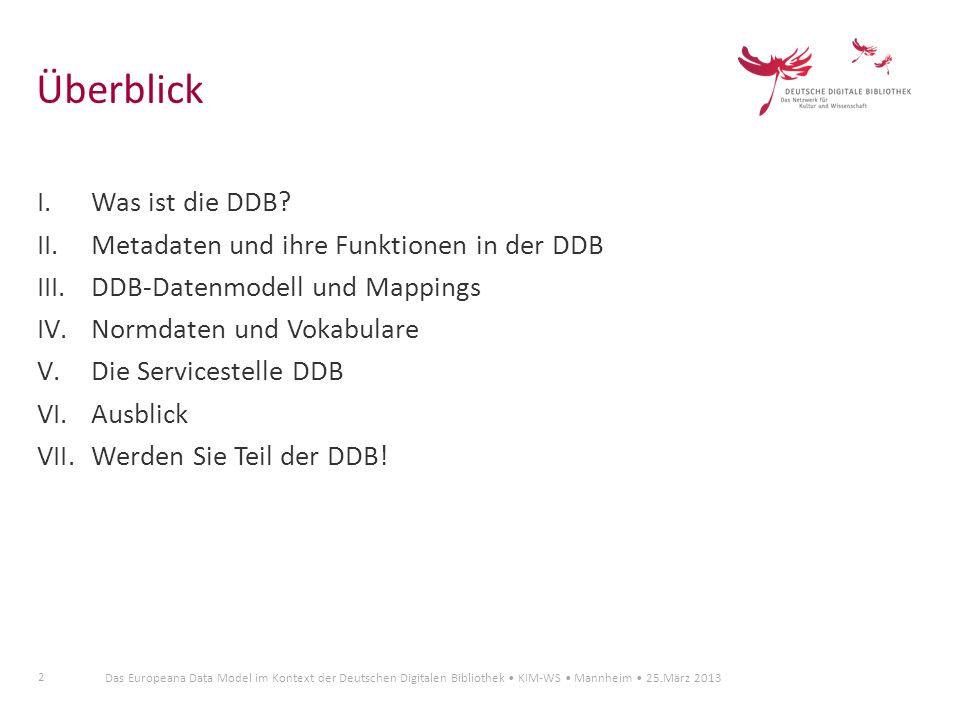 2 Das Europeana Data Model im Kontext der Deutschen Digitalen Bibliothek KIM-WS Mannheim 25.März 2013 Überblick I.Was ist die DDB? II.Metadaten und ih