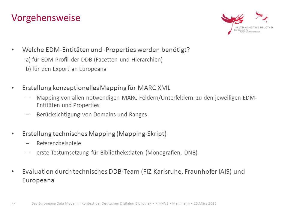 27 Das Europeana Data Model im Kontext der Deutschen Digitalen Bibliothek KIM-WS Mannheim 25.März 2013 Welche EDM-Entitäten und -Properties werden ben