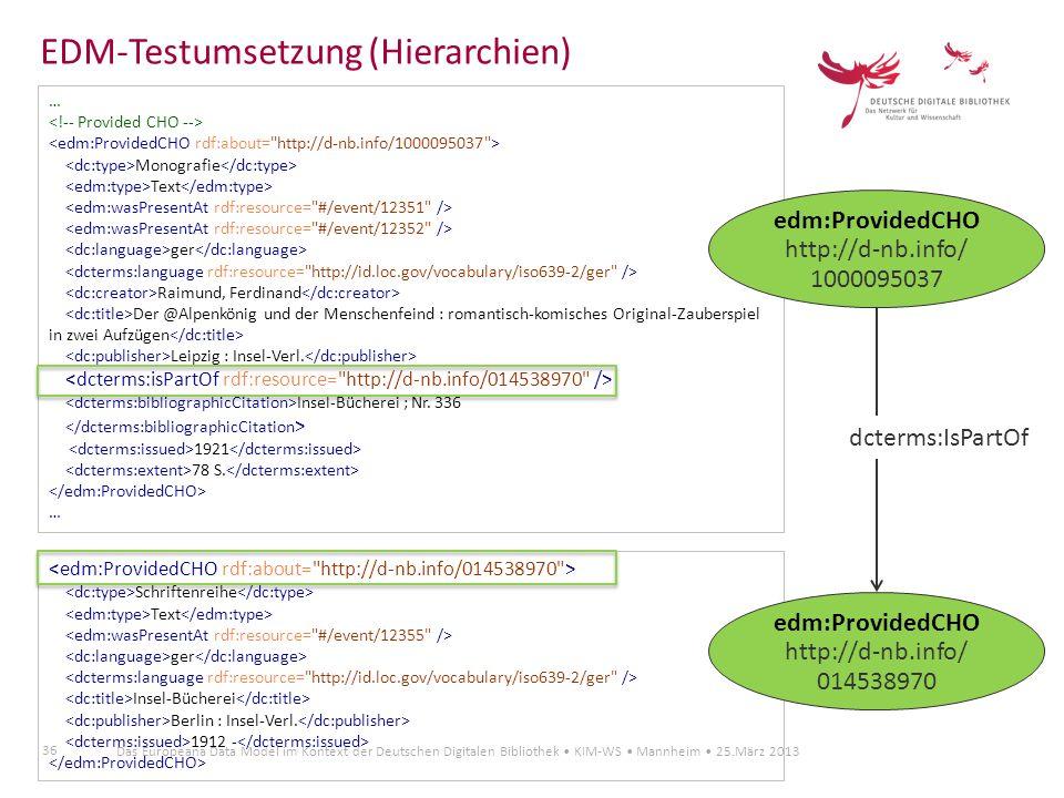 36 Das Europeana Data Model im Kontext der Deutschen Digitalen Bibliothek KIM-WS Mannheim 25.März 2013 … Monografie Text ger Raimund, Ferdinand Der @A