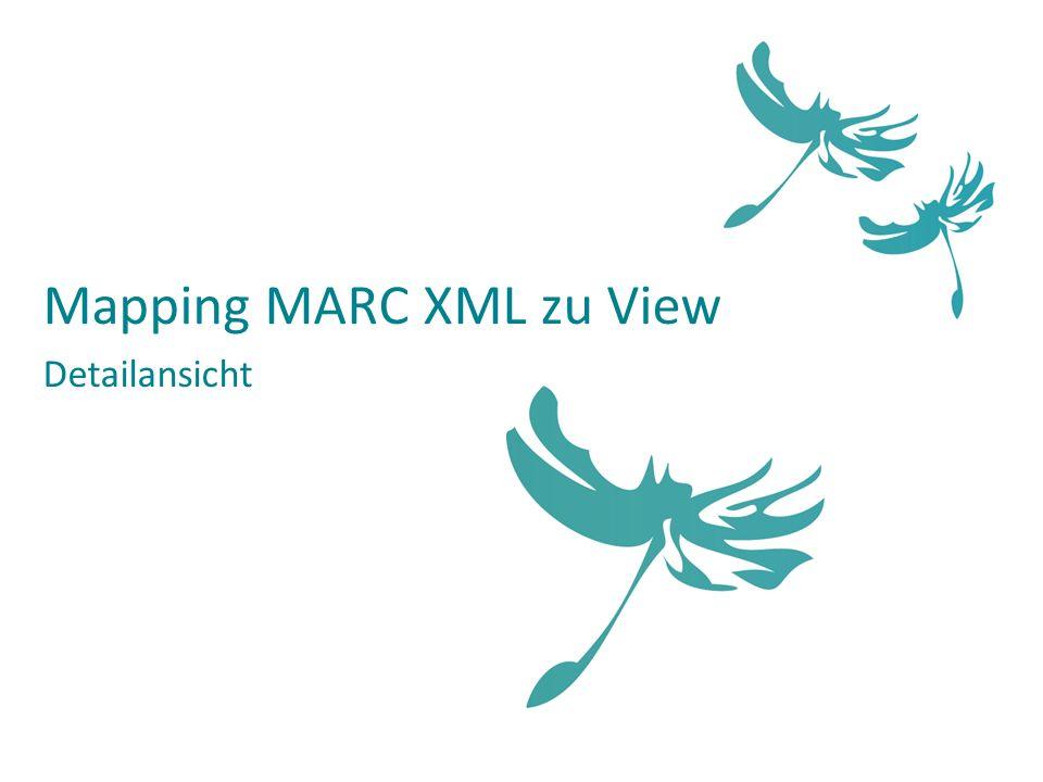Mapping MARC XML zu View Detailansicht