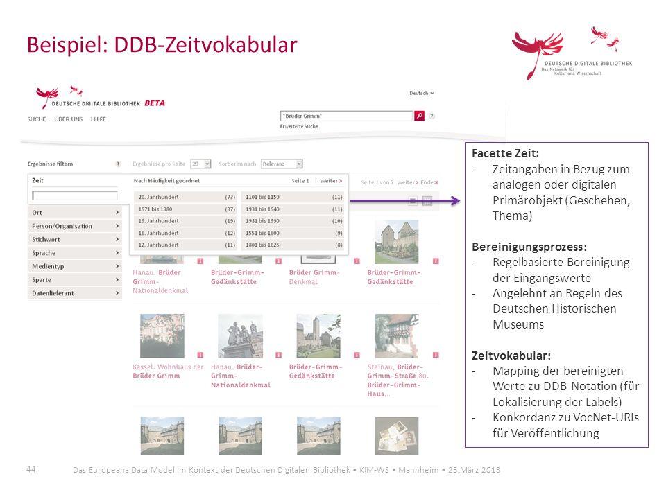 44 Das Europeana Data Model im Kontext der Deutschen Digitalen Bibliothek KIM-WS Mannheim 25.März 2013 Beispiel: DDB-Zeitvokabular Facette Zeit: -Zeit