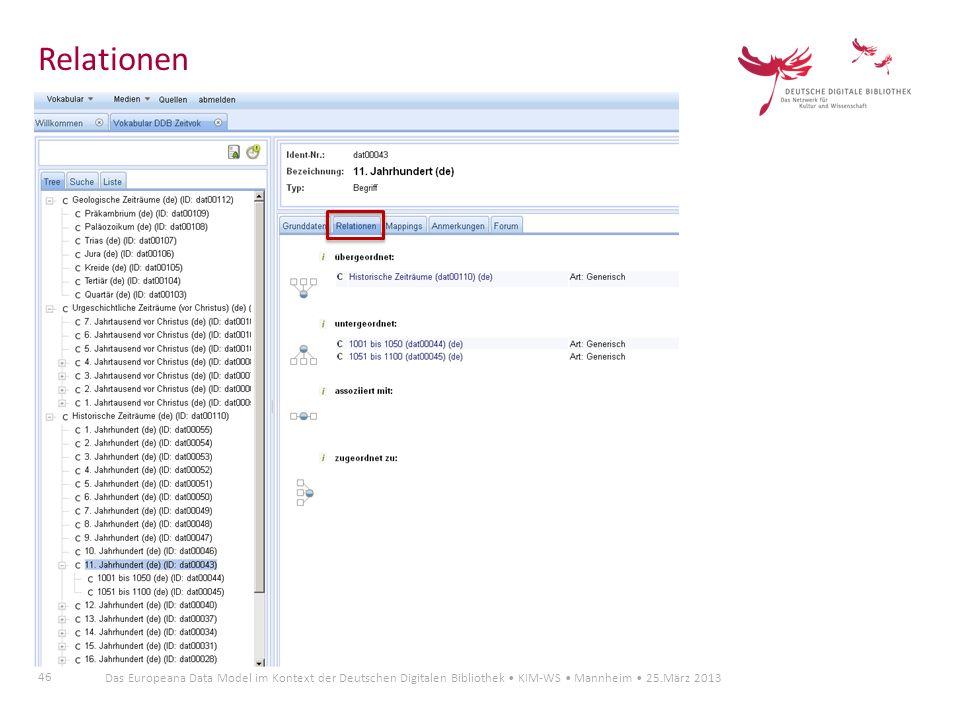 46 Das Europeana Data Model im Kontext der Deutschen Digitalen Bibliothek KIM-WS Mannheim 25.März 2013 Relationen