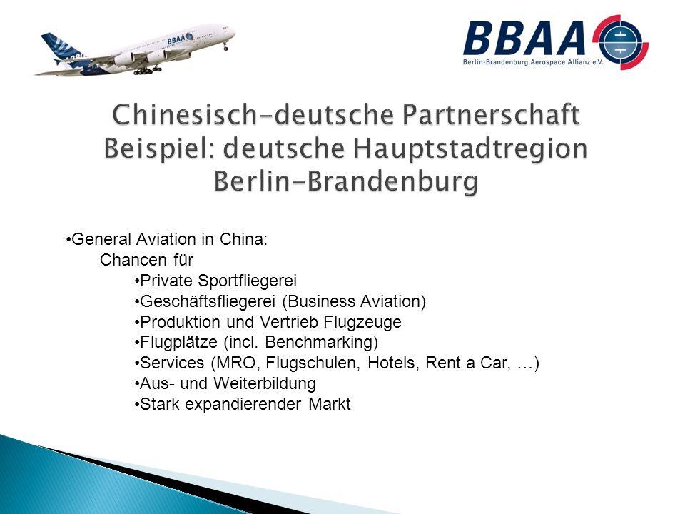 General Aviation in China: Chancen für Private Sportfliegerei Geschäftsfliegerei (Business Aviation) Produktion und Vertrieb Flugzeuge Flugplätze (incl.
