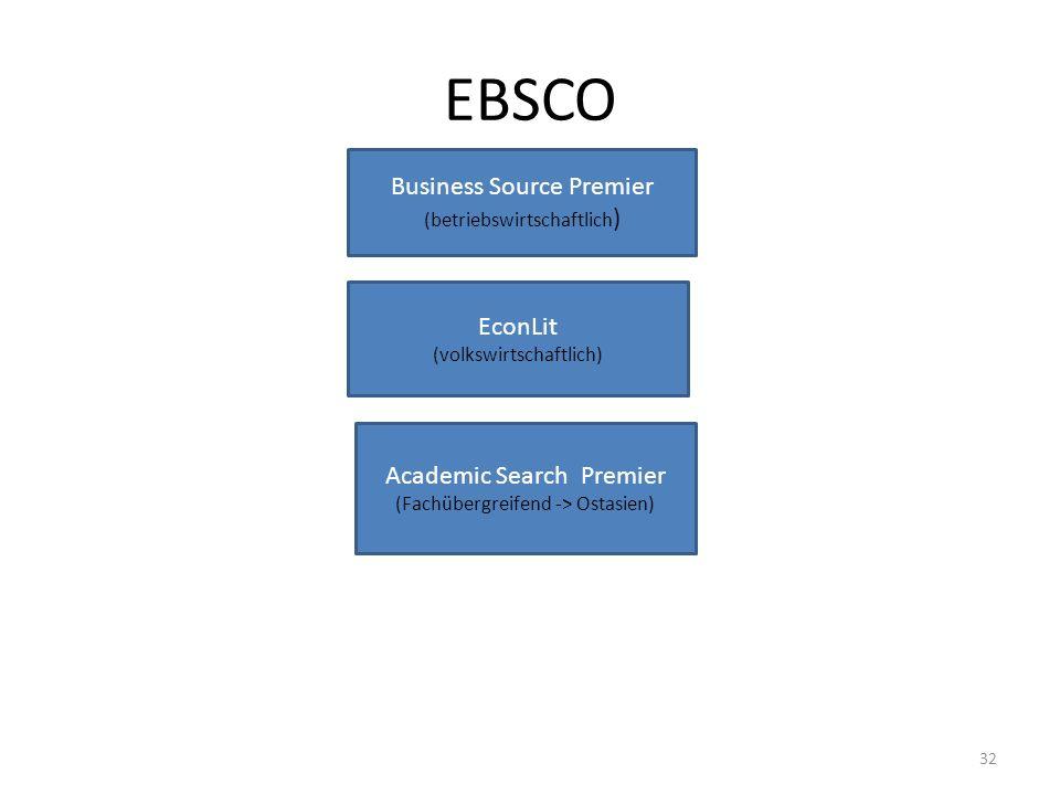 EBSCO Business Source Premier (betriebswirtschaftlich ) EconLit (volkswirtschaftlich) Academic Search Premier (Fachübergreifend -> Ostasien) 32