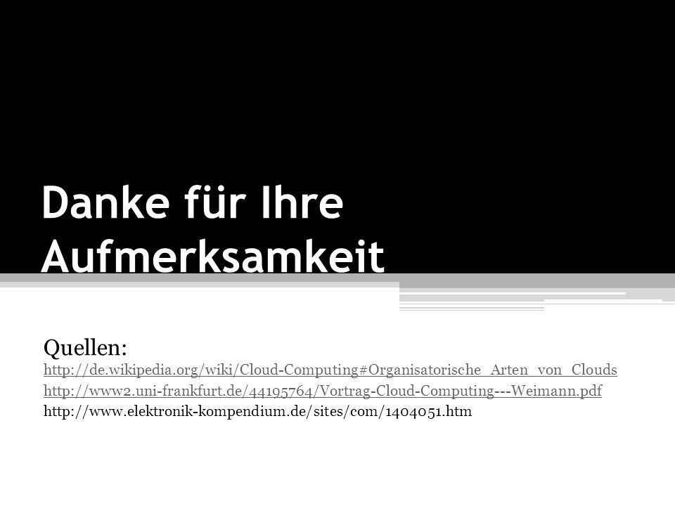 Danke für Ihre Aufmerksamkeit Quellen: http://de.wikipedia.org/wiki/Cloud-Computing#Organisatorische_Arten_von_Clouds http://de.wikipedia.org/wiki/Clo