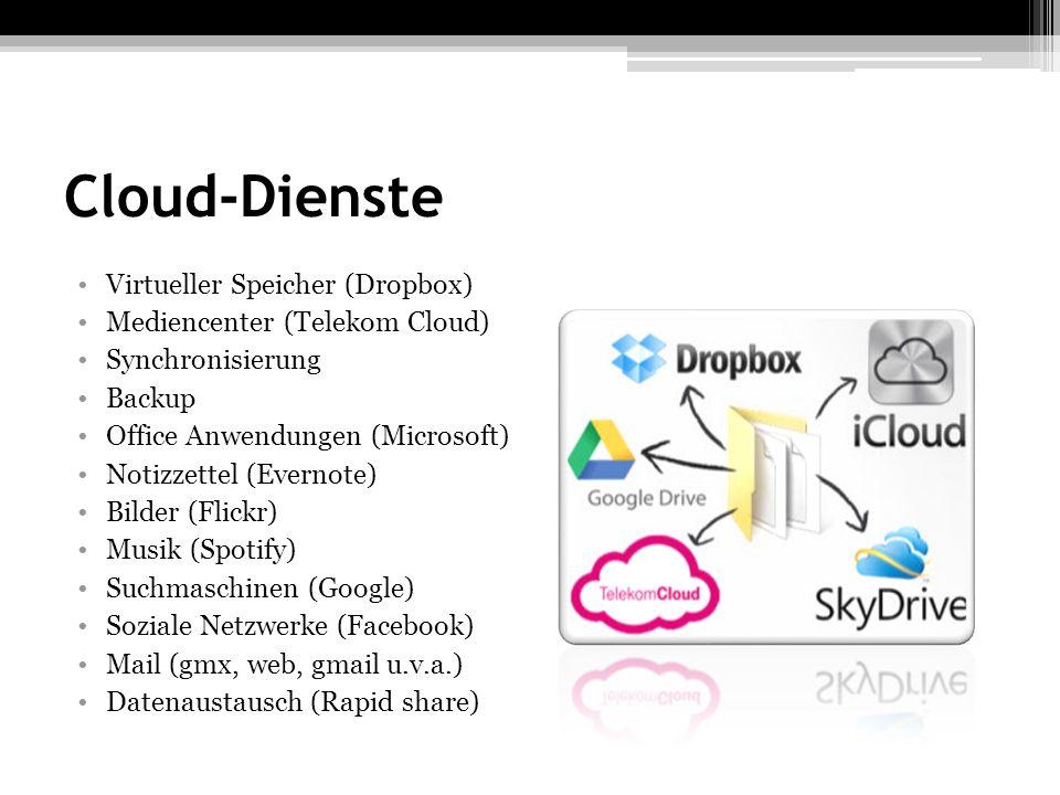 Cloud-Dienste Virtueller Speicher (Dropbox) Mediencenter (Telekom Cloud) Synchronisierung Backup Office Anwendungen (Microsoft) Notizzettel (Evernote)