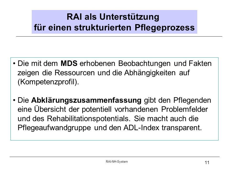 RAI-NH-System 11 RAI als Unterstützung für einen strukturierten Pflegeprozess Die mit dem MDS erhobenen Beobachtungen und Fakten zeigen die Ressourcen und die Abhängigkeiten auf (Kompetenzprofil).