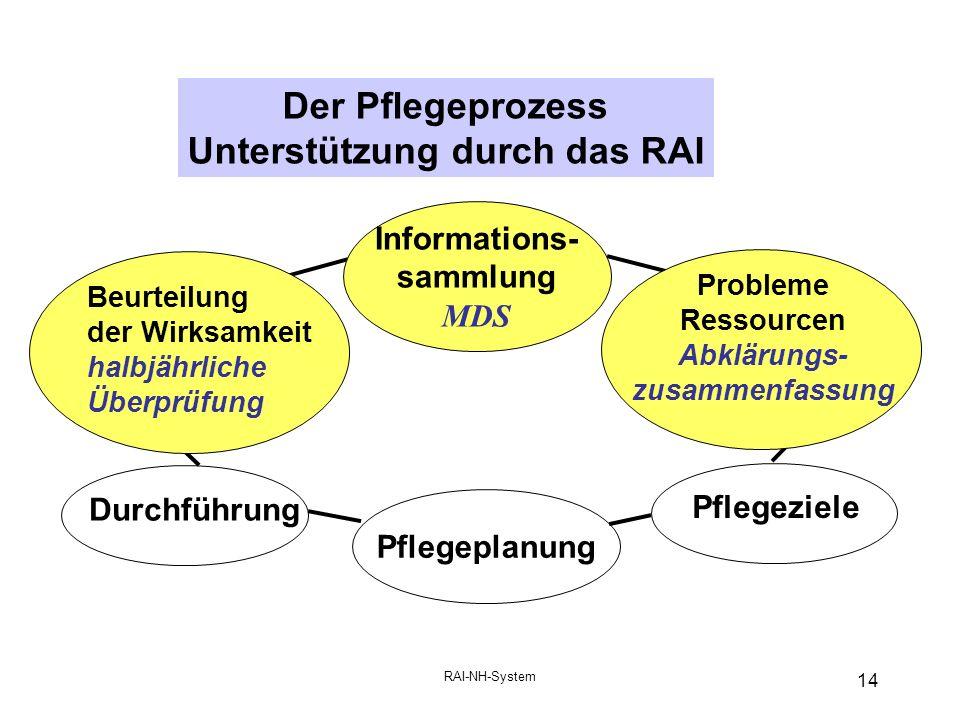 RAI-NH-System 14 Der Pflegeprozess Unterstützung durch das RAI Durchführung Pflegeziele Pflegeplanung Beurteilung der Wirksamkeit halbjährliche Überprüfung Informations- sammlung MDS Probleme Ressourcen Abklärungs- zusammenfassung