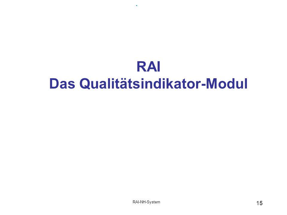 RAI-NH-System 15 RAI Das Qualitätsindikator-Modul