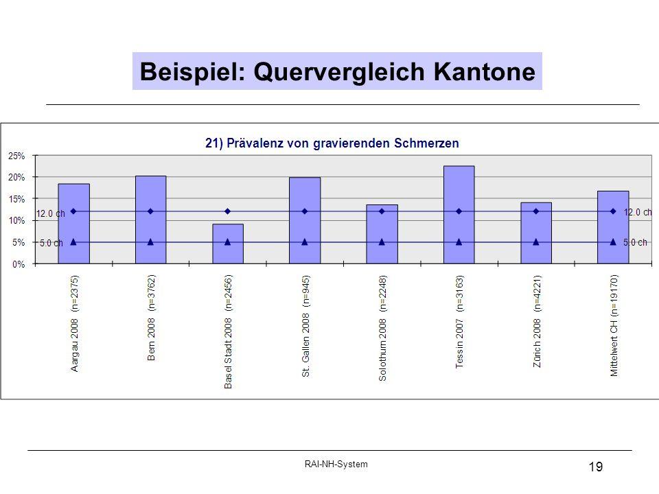 RAI-NH-System 19 Beispiel: Quervergleich Kantone