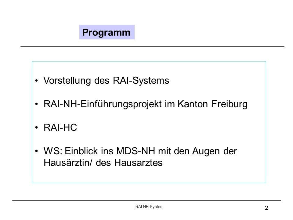 RAI-NH-System 2 Programm Vorstellung des RAI-Systems RAI-NH-Einführungsprojekt im Kanton Freiburg RAI-HC WS: Einblick ins MDS-NH mit den Augen der Hausärztin/ des Hausarztes