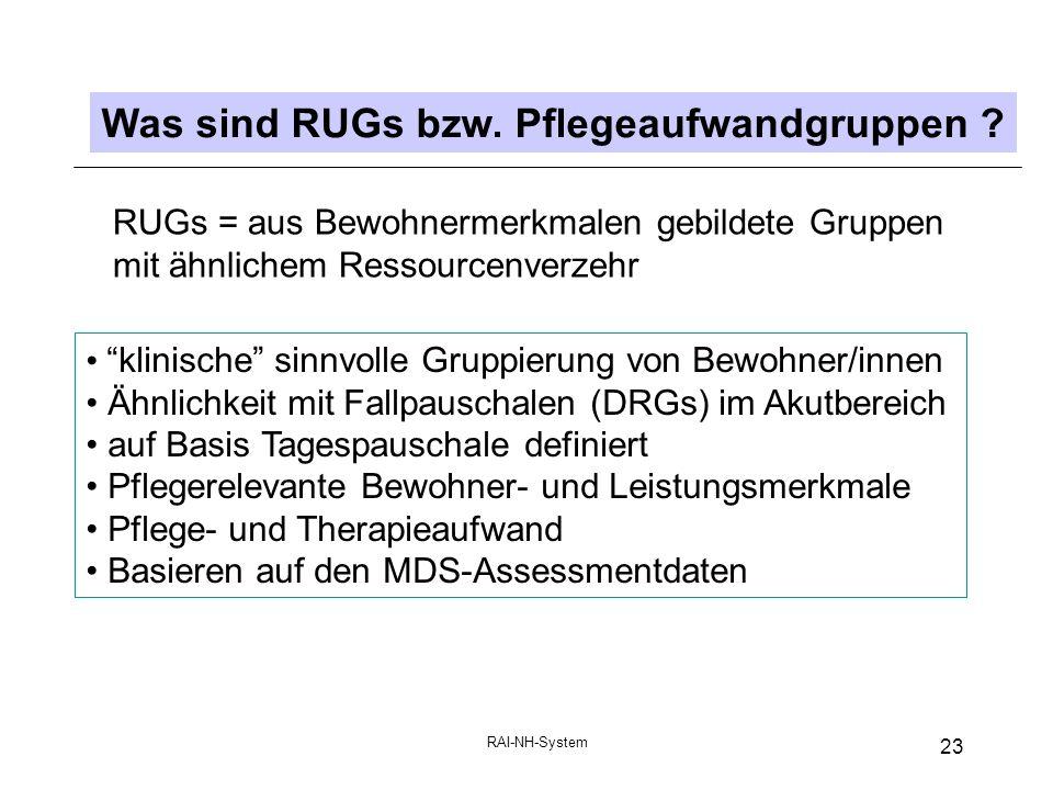 RAI-NH-System 23 Was sind RUGs bzw.Pflegeaufwandgruppen .