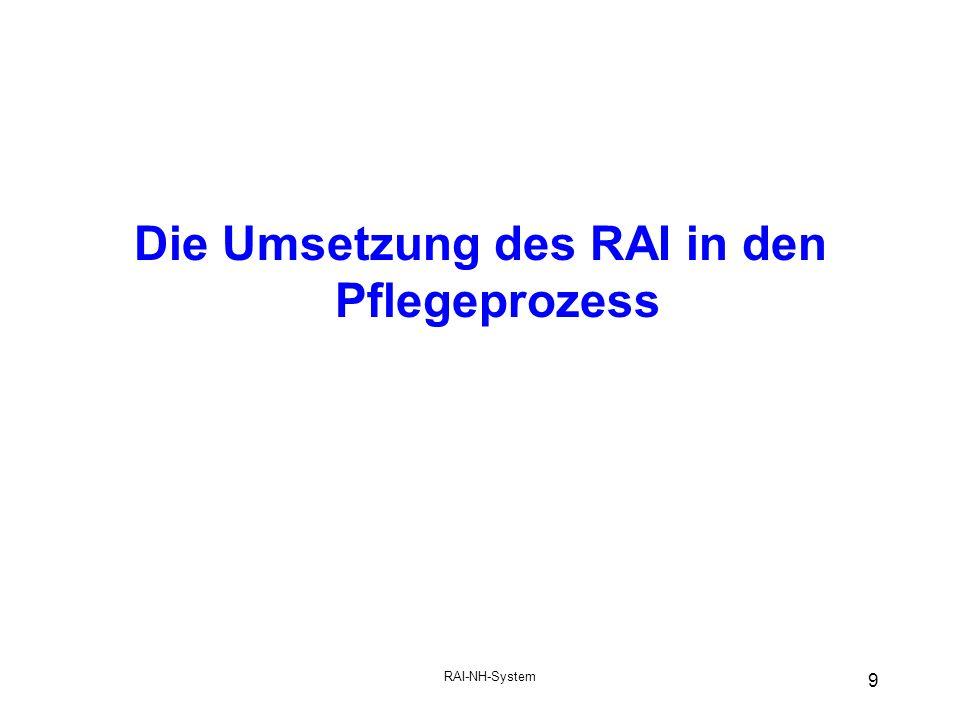 RAI-NH-System 9 Die Umsetzung des RAI in den Pflegeprozess