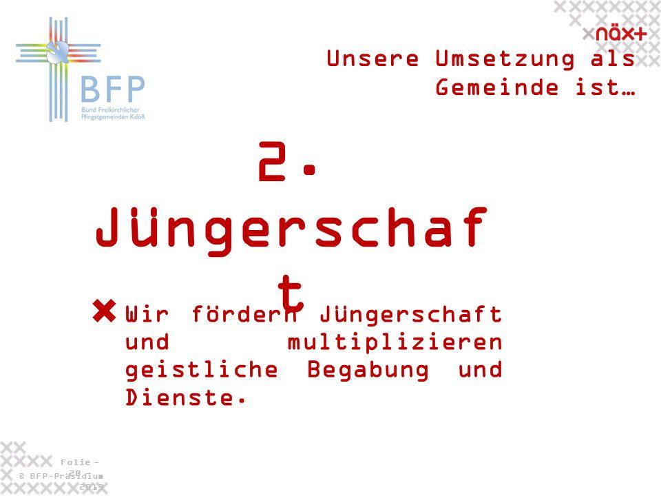 © BFP-Präsidium 2013 Folie - 20 - 2. Jüngerschaf t Unsere Umsetzung als Gemeinde ist… Wir fördern Jüngerschaft und multiplizieren geistliche Begabung