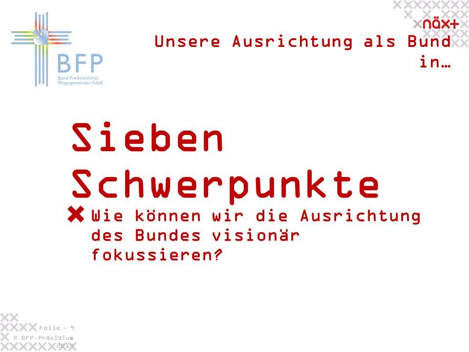 © BFP-Präsidium 2013 Folie - 9 - Sieben Schwerpunkte Unsere Ausrichtung als Bund in… Wie können wir die Ausrichtung des Bundes visionär fokussieren?
