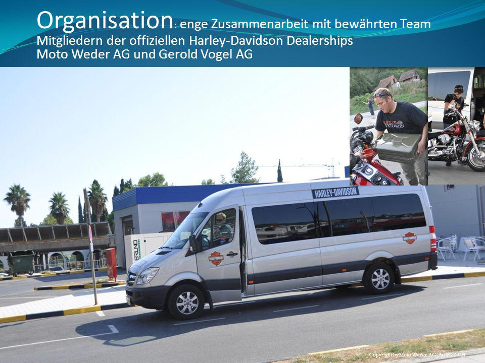 Organisation : enge Zusammenarbeit mit bewährten Team Mitgliedern der offiziellen Harley-Davidson Dealerships Moto Weder AG und Gerold Vogel AG Copyri