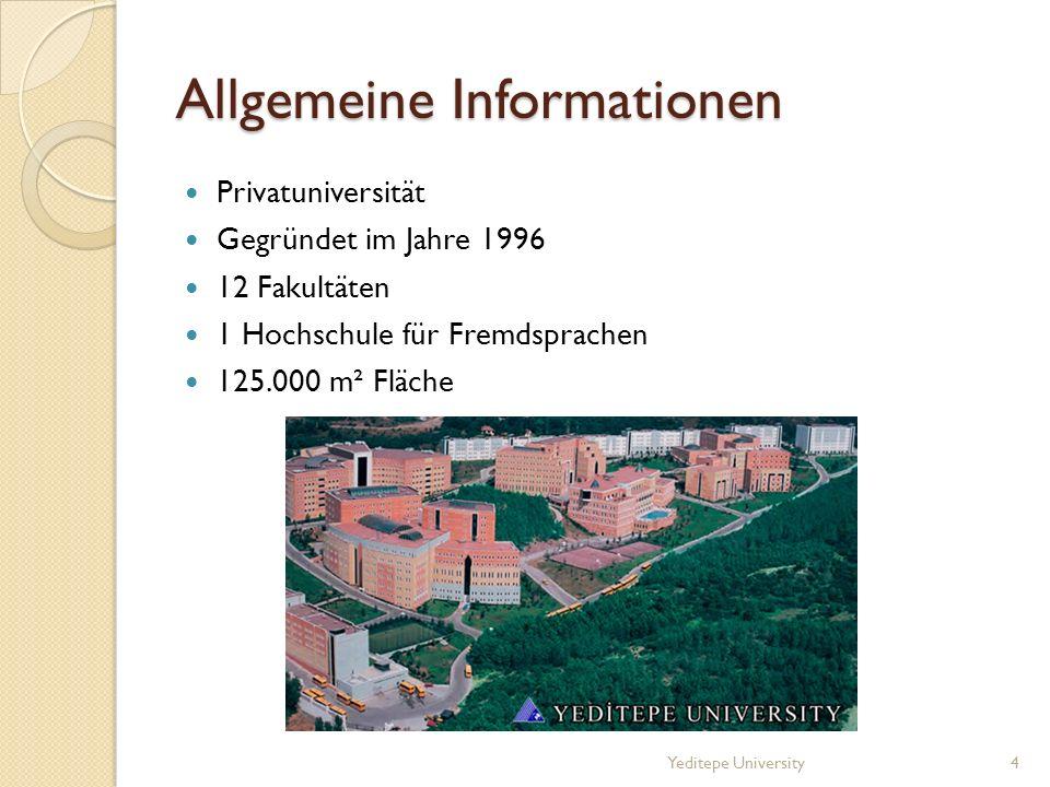 Allgemeine Informationen Privatuniversität Gegründet im Jahre 1996 12 Fakultäten 1 Hochschule für Fremdsprachen 125.000 m² Fläche Yeditepe University4