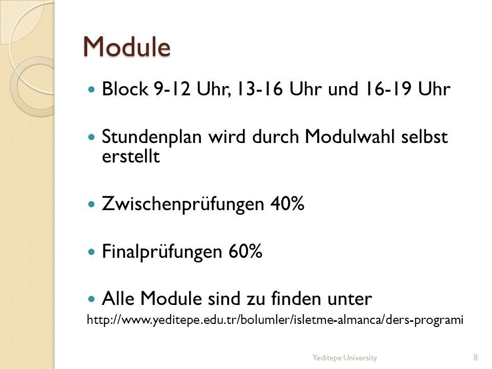 Module Block 9-12 Uhr, 13-16 Uhr und 16-19 Uhr Stundenplan wird durch Modulwahl selbst erstellt Zwischenprüfungen 40% Finalprüfungen 60% Alle Module sind zu finden unter http://www.yeditepe.edu.tr/bolumler/isletme-almanca/ders-programi Yeditepe University8
