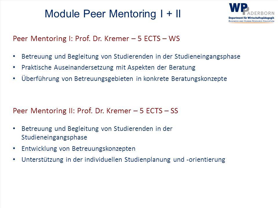 Module Peer Mentoring I + II Peer Mentoring I: Prof. Dr. Kremer – 5 ECTS – WS Betreuung und Begleitung von Studierenden in der Studieneingangsphase Pr