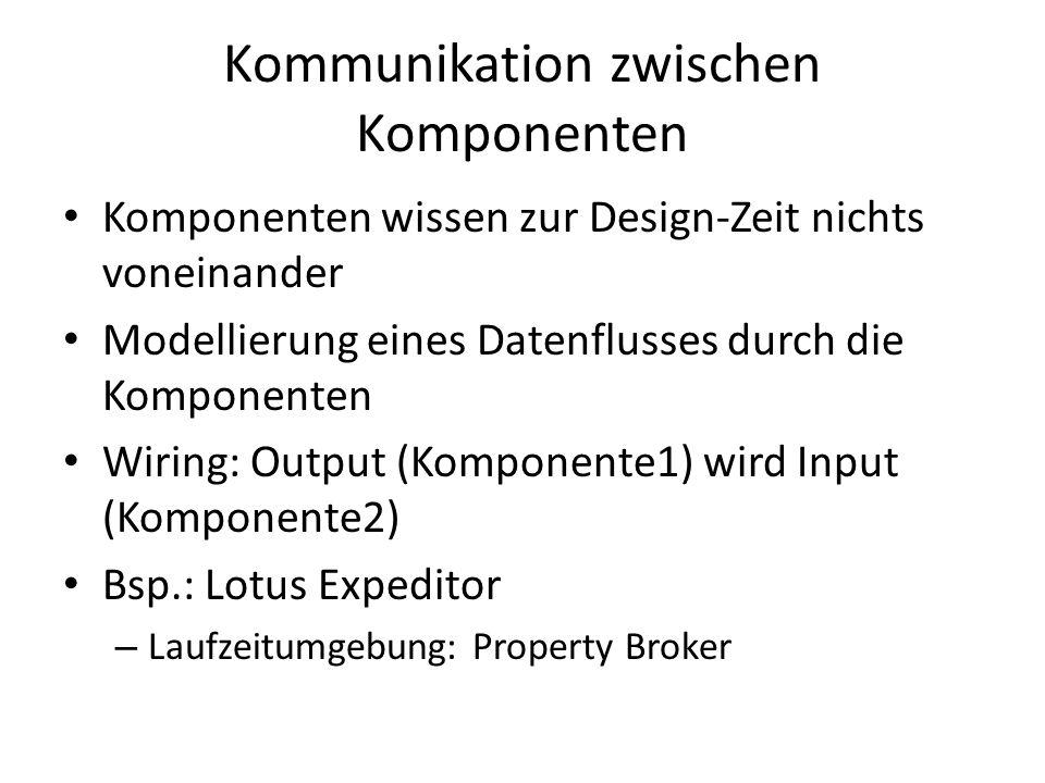 Kommunikation zwischen Komponenten Komponenten wissen zur Design-Zeit nichts voneinander Modellierung eines Datenflusses durch die Komponenten Wiring: