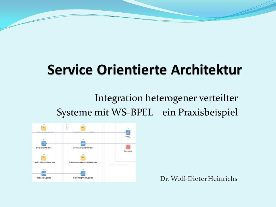 Web Services Business Process Execution Language (WS-BPEL) BPEL ist eine XML-basierte Sprache zur Beschreibung von Geschäftsprozessen als Workflows.