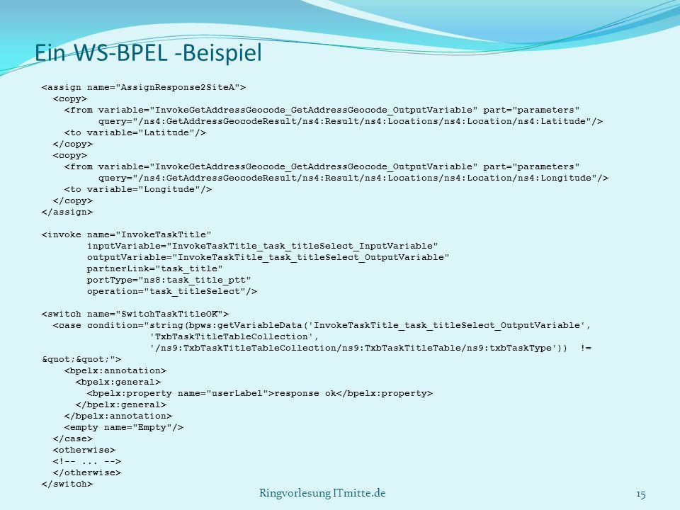 Ein WS-BPEL -Beispiel <from variable= InvokeGetAddressGeocode_GetAddressGeocode_OutputVariable part= parameters query= /ns4:GetAddressGeocodeResult/ns4:Result/ns4:Locations/ns4:Location/ns4:Latitude /> <from variable= InvokeGetAddressGeocode_GetAddressGeocode_OutputVariable part= parameters query= /ns4:GetAddressGeocodeResult/ns4:Result/ns4:Locations/ns4:Location/ns4:Longitude /> <invoke name= InvokeTaskTitle inputVariable= InvokeTaskTitle_task_titleSelect_InputVariable outputVariable= InvokeTaskTitle_task_titleSelect_OutputVariable partnerLink= task_title portType= ns8:task_title_ptt operation= task_titleSelect /> <case condition= string(bpws:getVariableData( InvokeTaskTitle_task_titleSelect_OutputVariable , TxbTaskTitleTableCollection , /ns9:TxbTaskTitleTableCollection/ns9:TxbTaskTitleTable/ns9:txbTaskType )) != > response ok 15Ringvorlesung ITmitte.de