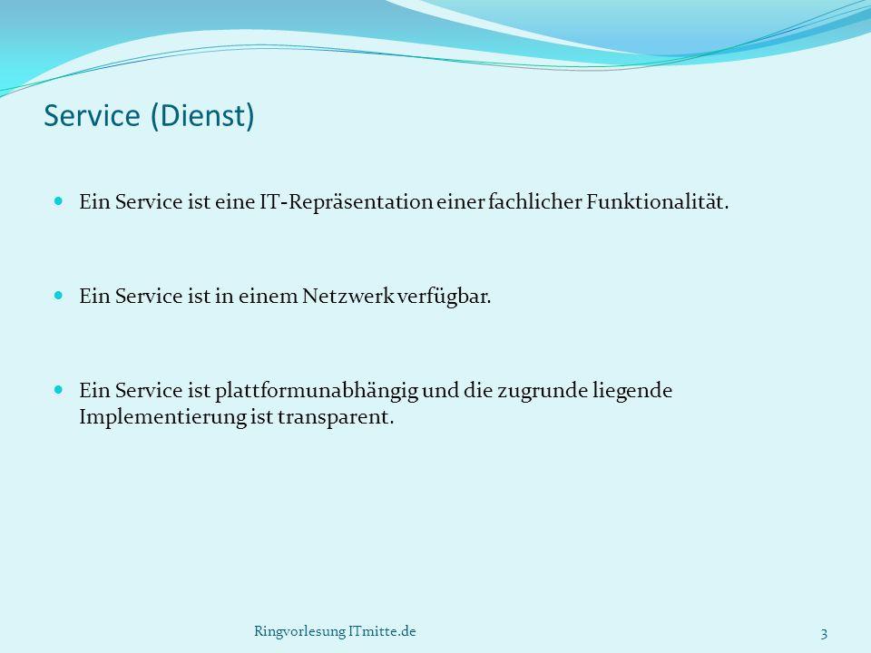 Service (Dienst) Ein Service ist eine IT-Repräsentation einer fachlicher Funktionalität.