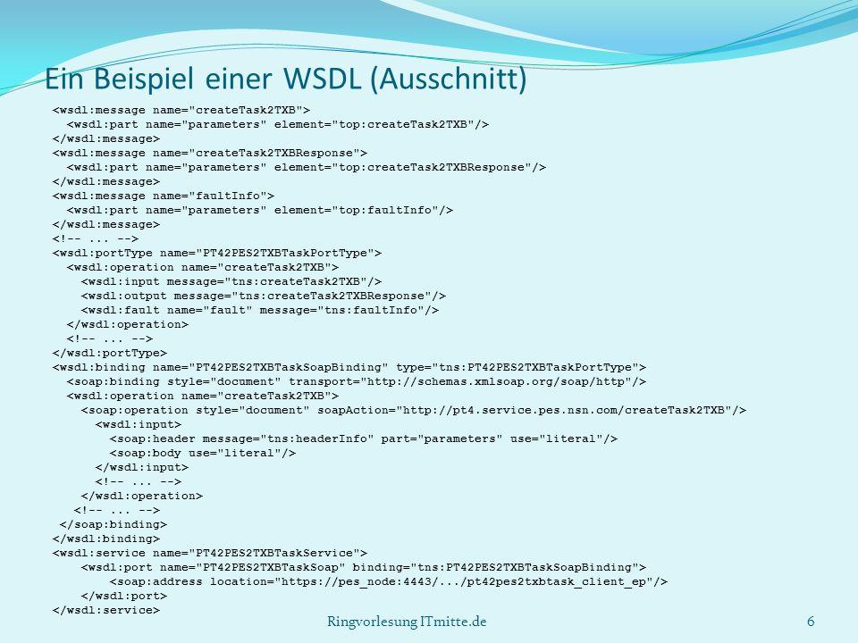 Ein Beispiel einer WSDL (Ausschnitt) 6Ringvorlesung ITmitte.de