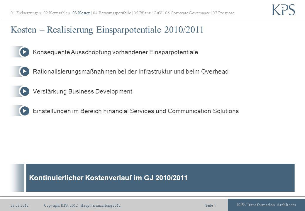 Seite KPS Transformation Architects Kosten – Realisierung Einsparpotentiale 2010/2011 Copyright KPS, 2012 | Hauptversammlung 20127 01 Zielsetzungen |