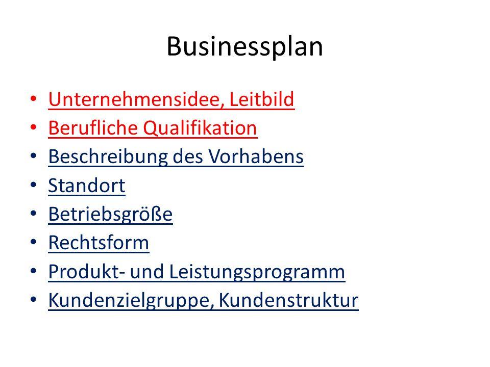 Businessplan Unternehmensidee, Leitbild Berufliche Qualifikation Beschreibung des Vorhabens Standort Betriebsgröße Rechtsform Produkt- und Leistungspr