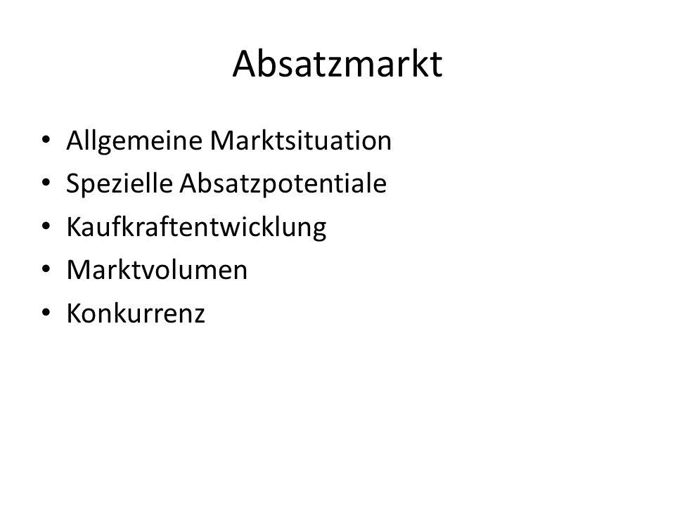 Absatzmarkt Allgemeine Marktsituation Spezielle Absatzpotentiale Kaufkraftentwicklung Marktvolumen Konkurrenz