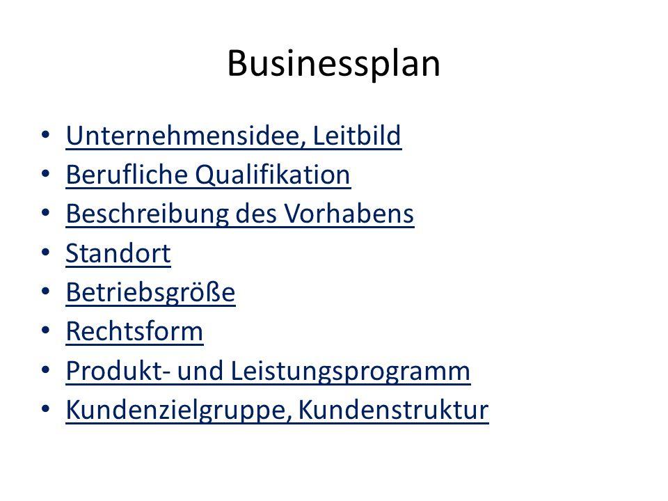 Businessplan Absatzmarktbeurteilung Marketing Werbung Personal Investitionsplan Kapitalbedarf Finanzierungsplan Liquiditätsplan Umsatz-, Kosten- und Gewinnplan, Rentabilität