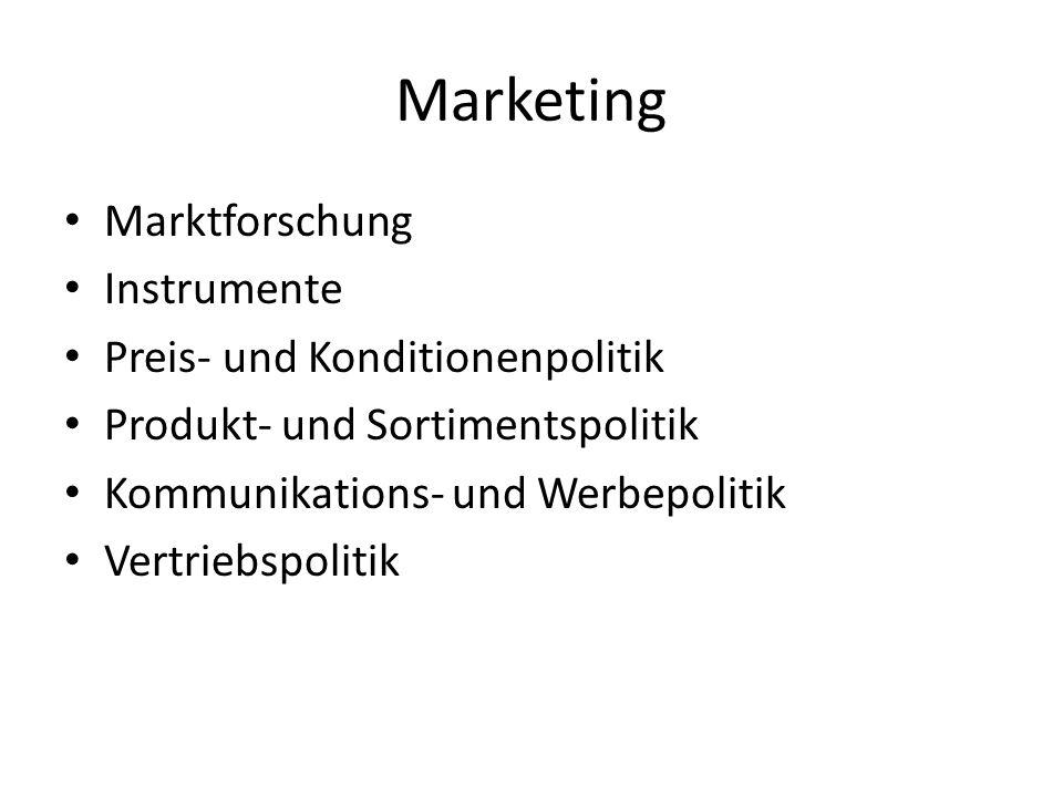 Marketing Marktforschung Instrumente Preis- und Konditionenpolitik Produkt- und Sortimentspolitik Kommunikations- und Werbepolitik Vertriebspolitik