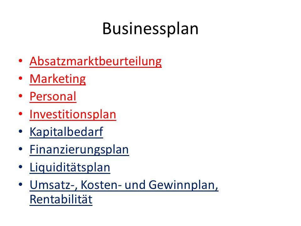 Businessplan Absatzmarktbeurteilung Marketing Personal Investitionsplan Kapitalbedarf Finanzierungsplan Liquiditätsplan Umsatz-, Kosten- und Gewinnpla