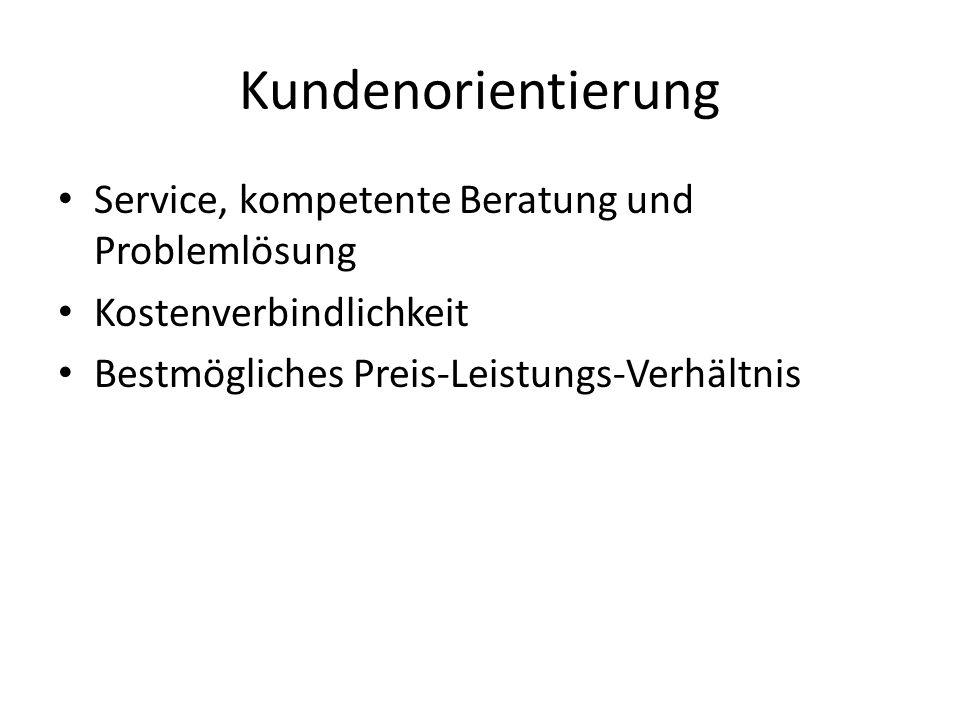 Kundenorientierung Service, kompetente Beratung und Problemlösung Kostenverbindlichkeit Bestmögliches Preis-Leistungs-Verhältnis