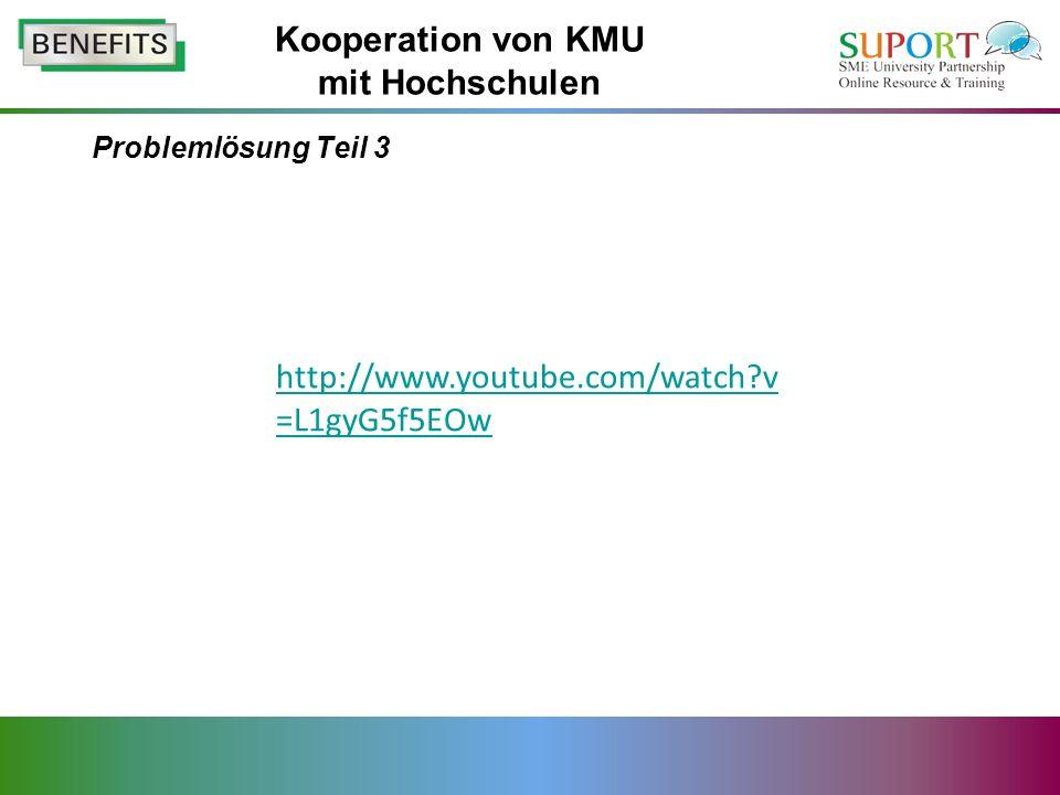 Problemlösung Teil 3 Kooperation von KMU mit Hochschulen http://www.youtube.com/watch?v =L1gyG5f5EOw