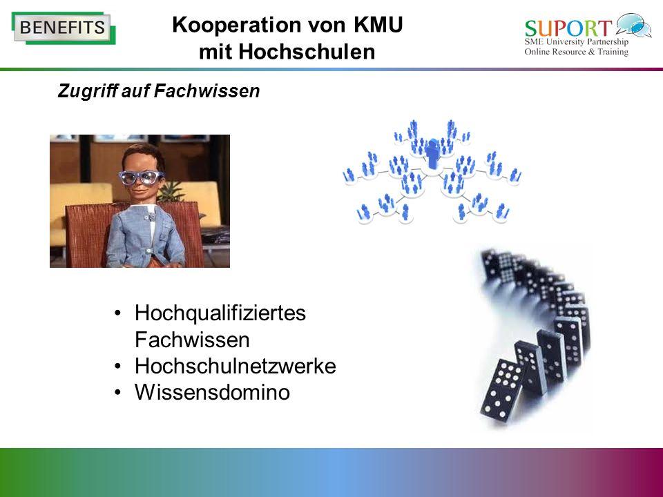 Zugriff auf Fachwissen Hochqualifiziertes Fachwissen Hochschulnetzwerke Wissensdomino Kooperation von KMU mit Hochschulen