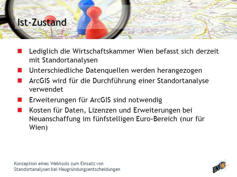 Konzeption eines Webtools zum Einsatz von Standortanalysen bei Neugründungsentscheidungen Ist-Zustand Lediglich die Wirtschaftskammer Wien befasst sic