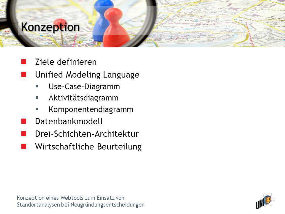 Konzeption eines Webtools zum Einsatz von Standortanalysen bei Neugründungsentscheidungen Konzeption Ziele definieren Unified Modeling Language Use-Ca