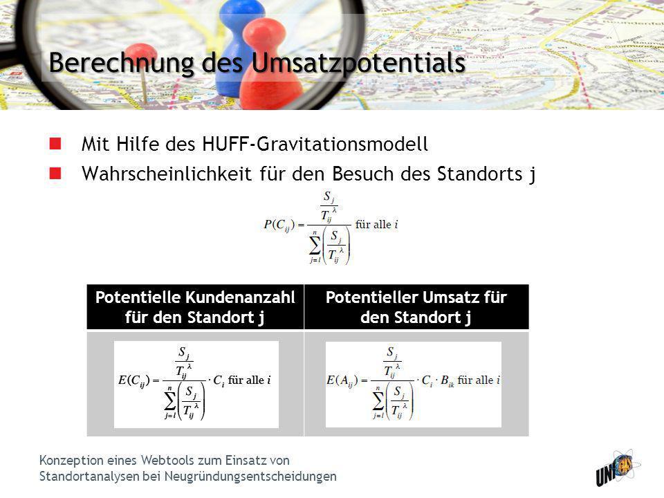 Konzeption eines Webtools zum Einsatz von Standortanalysen bei Neugründungsentscheidungen Berechnung des Umsatzpotentials Mit Hilfe des HUFF-Gravitati