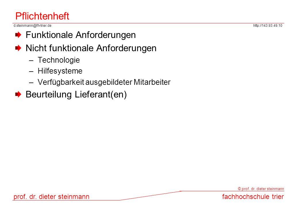 d.steinmann@fh-trier.dehttp://143.93.49.10 prof. dr. dieter steinmannfachhochschule trier © prof. dr. dieter steinmann Pflichtenheft Funktionale Anfor