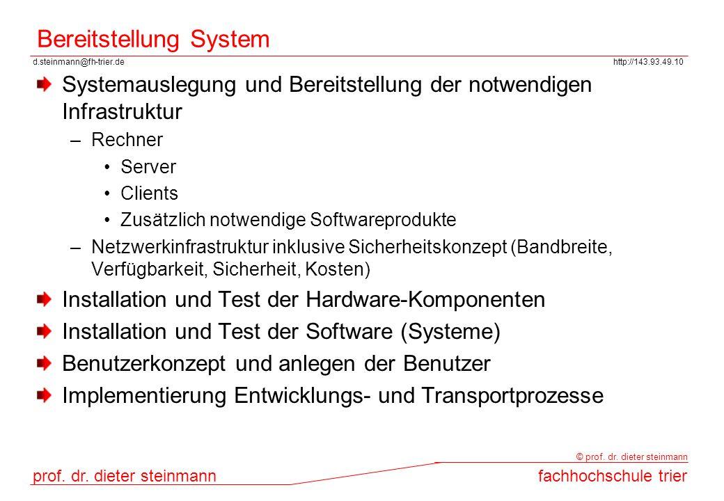 d.steinmann@fh-trier.dehttp://143.93.49.10 prof. dr. dieter steinmannfachhochschule trier © prof. dr. dieter steinmann Bereitstellung System Systemaus