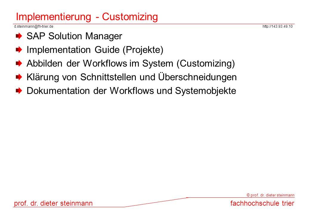 d.steinmann@fh-trier.dehttp://143.93.49.10 prof. dr. dieter steinmannfachhochschule trier © prof. dr. dieter steinmann Implementierung - Customizing S