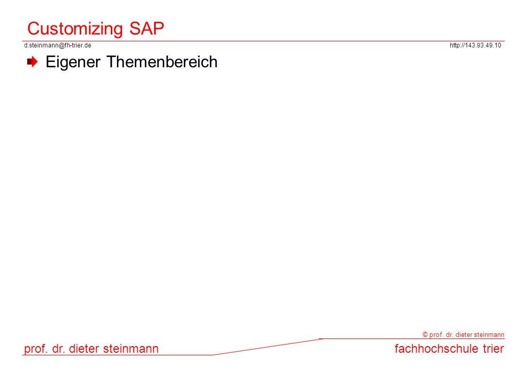d.steinmann@fh-trier.dehttp://143.93.49.10 prof. dr. dieter steinmannfachhochschule trier © prof. dr. dieter steinmann Customizing SAP Eigener Themenb