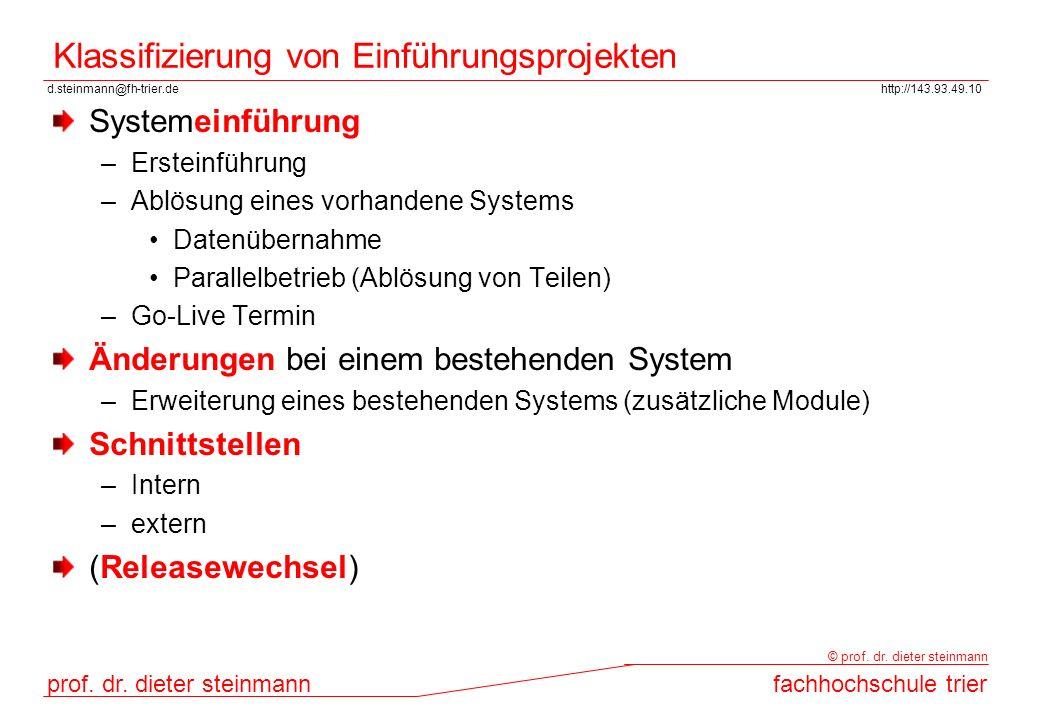 d.steinmann@fh-trier.dehttp://143.93.49.10 prof. dr. dieter steinmannfachhochschule trier © prof. dr. dieter steinmann Klassifizierung von Einführungs