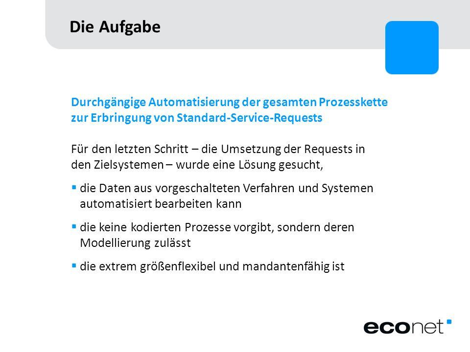Die Aufgabe Durchgängige Automatisierung der gesamten Prozesskette zur Erbringung von Standard-Service-Requests Für den letzten Schritt – die Umsetzun