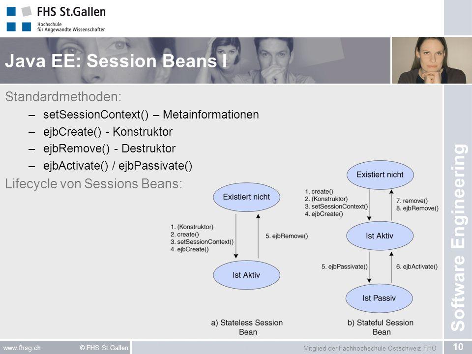 Mitglied der Fachhochschule Ostschweiz FHO 10 www.fhsg.ch © FHS St.Gallen Software Engineering Java EE: Session Beans I Standardmethoden: –setSessionC