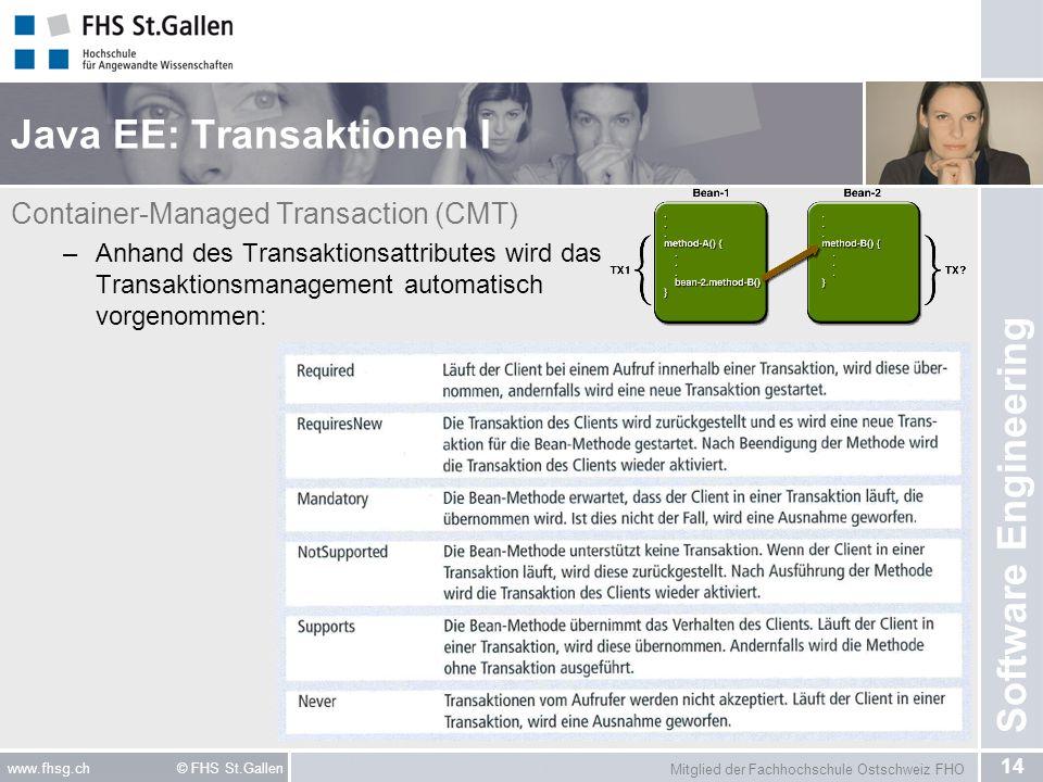Mitglied der Fachhochschule Ostschweiz FHO 14 www.fhsg.ch © FHS St.Gallen Software Engineering Java EE: Transaktionen I Container-Managed Transaction