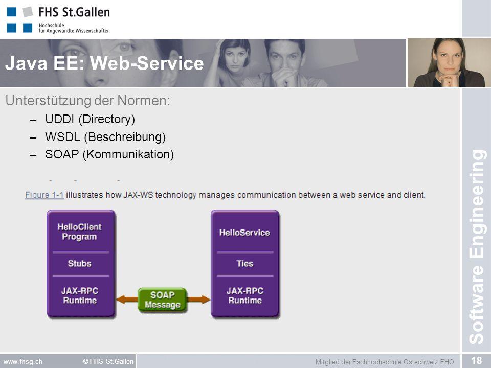 Mitglied der Fachhochschule Ostschweiz FHO 18 www.fhsg.ch © FHS St.Gallen Software Engineering Java EE: Web-Service Unterstützung der Normen: –UDDI (D
